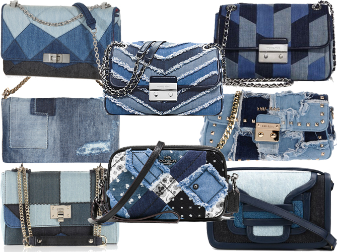 patchwork denim crossbody shoulder bags