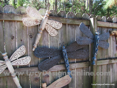 table leg dragonfly garden art