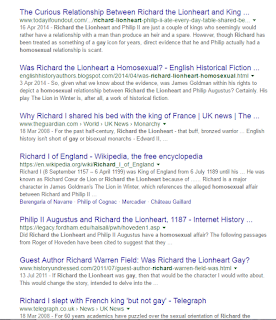"Screenshot of the google search ""Richard the Lionheart Gay""  the headlines are listed below"