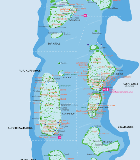 Mapa islas cercanas a Male