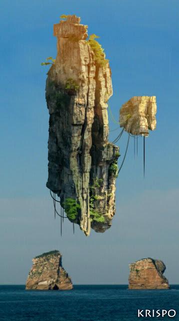 montaña flotante suspendida sobre las gemelas en hendaya