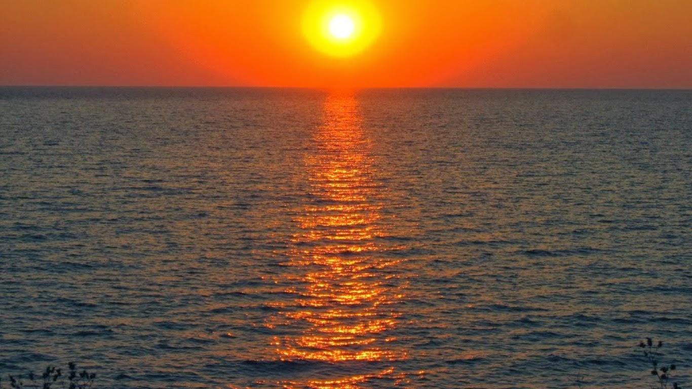 Meilleurs fonds d 39 crans paysages et fleurs fond ecran pc - Fond ecran coucher de soleil sur la mer ...