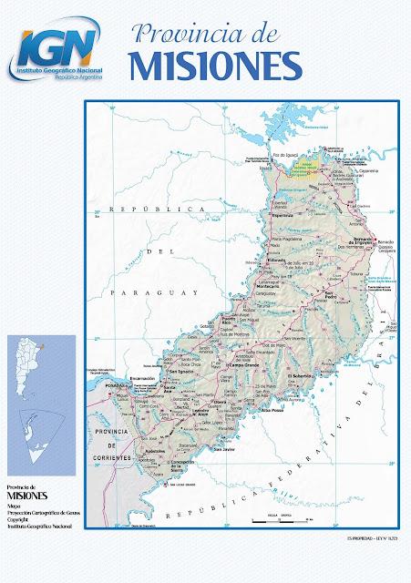 Mapa da província de Misiones - Argentina
