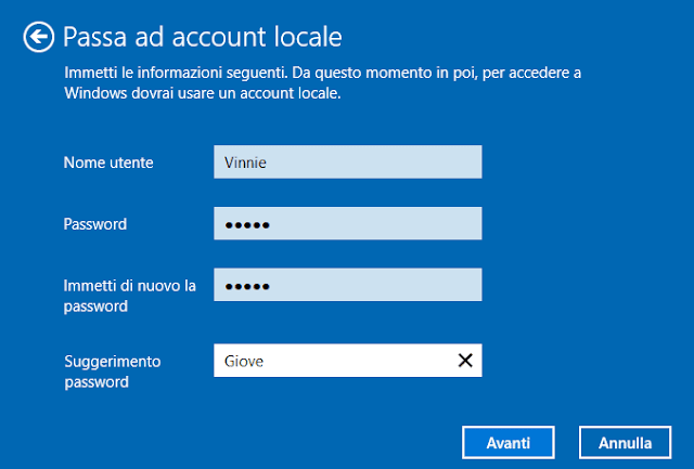 Passa ad account locale Windows 10 dati account locale