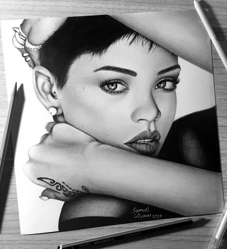 04-Rihanna-Samuel-Ulysses-Celebrity-Portraits-in-Pencil-www-designstack-co