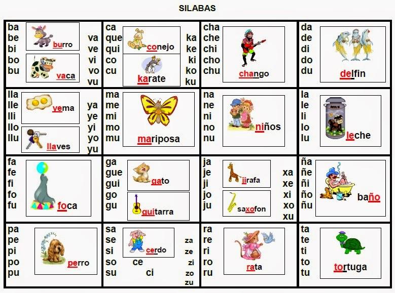 Silabas Simples Para Imprimir