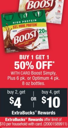 Boost Simply, Plus 6 pk. or Optimum 4 pk. 8 oz bottles.
