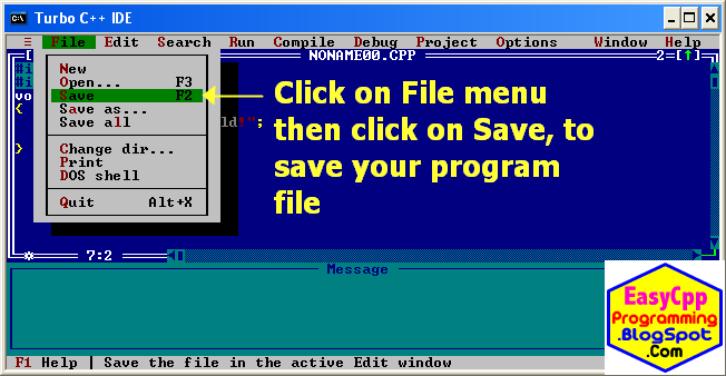 Save the C++ program file - Easyway C++ Programs.