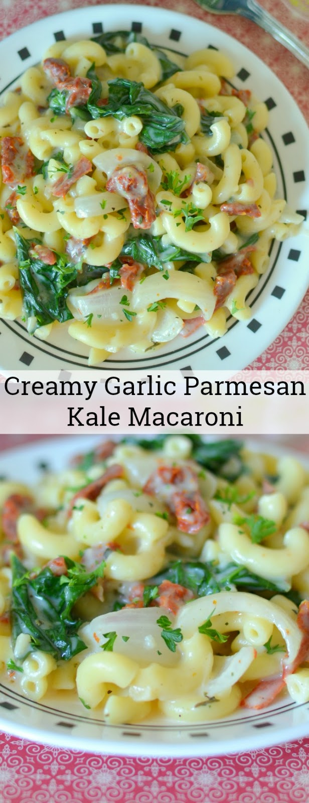 Creamy Garlic Parmesan Kale Macaroni Recipe from Hot Eats and Cool Reads! This 30 minute meal is delicious meatless, but also great with leftover rotisserie chicken or shrimp! We used fresh garden kale and onions for a quick summertime dinner, but it's great with store bought veggies for a winter meal too!