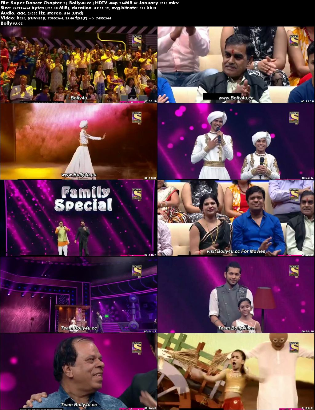 Super Dancer Chapter 2 HDTV 480p 200MB 07 January 2018 Download