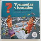 Ilustración de dos jóvenes que son absorbidos por un tornado. Uno de ellos sale volando