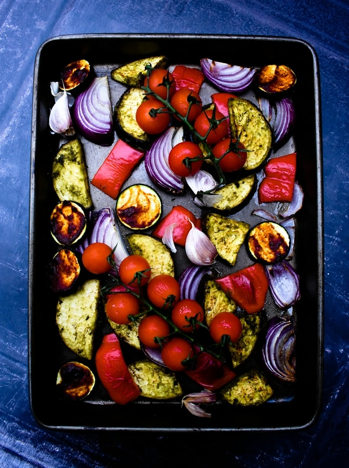 roasted vegetables with cherry tomatoes on the vine