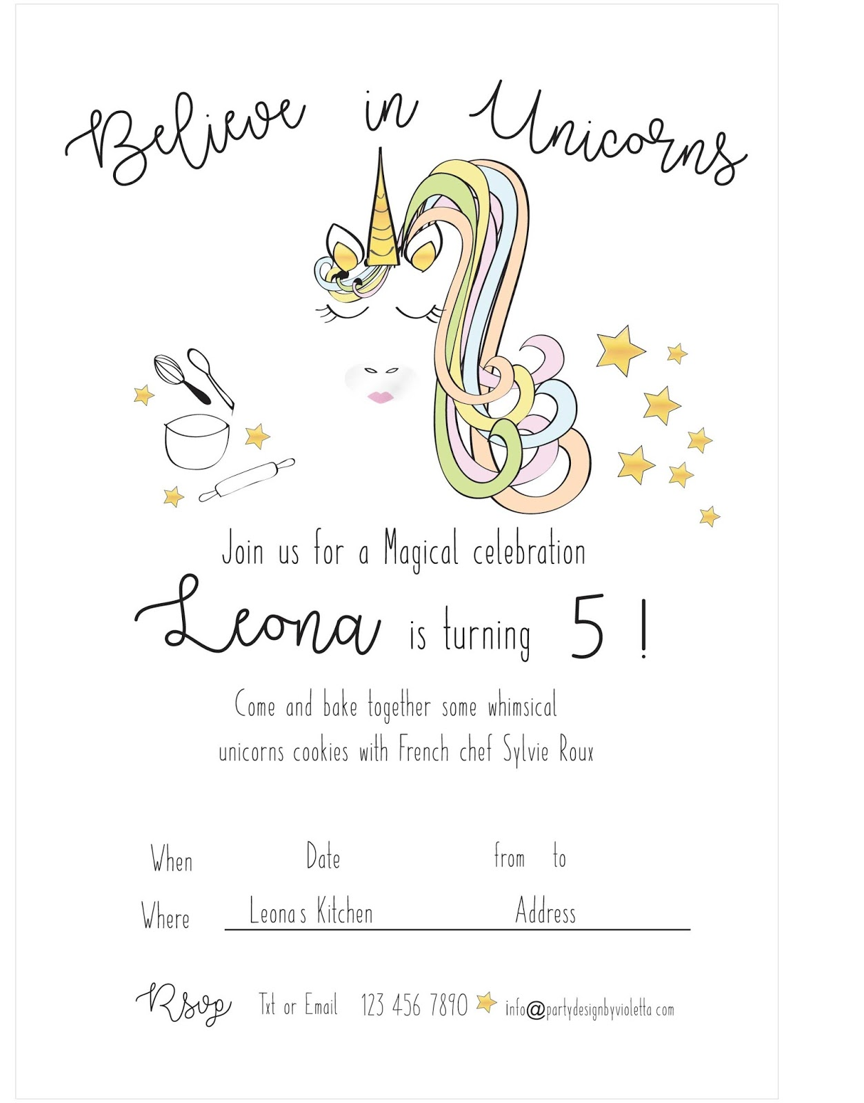 Unicorn Bakery theme Party French cooking class for Leona