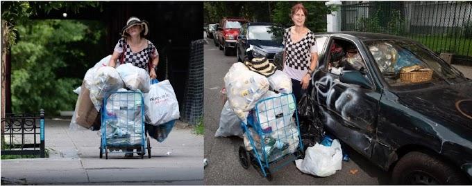 Millonaria de bienes raíces recoge latas en basureros de Nueva York ganando $20 y $30 dólares al día