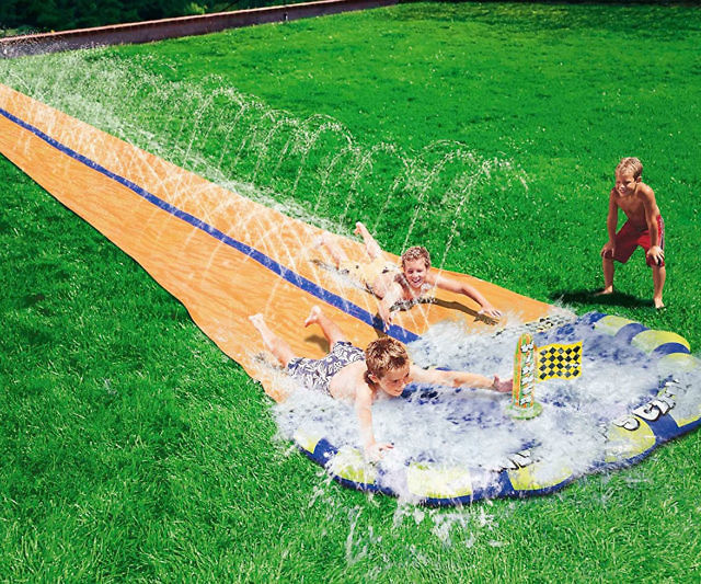 Make your slip 'n' slide racing dreams come true with the two-person slip and slide. Rather than wait for you buddy to finish his ride, simply hop on beside him and see if you can beat him to the small pool located at the finish line.