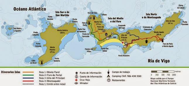 mapa de rutas de senderismo en las islas Cies