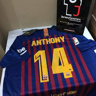 Anthony wrote his name on his favorite jersey