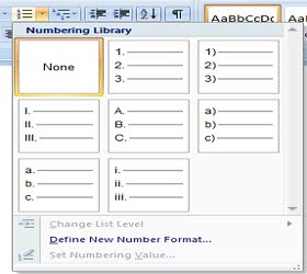 Numbering microsoft word