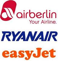 Líneas aéreas de bajo coste: Air Berlín, Ryanair e easyJet