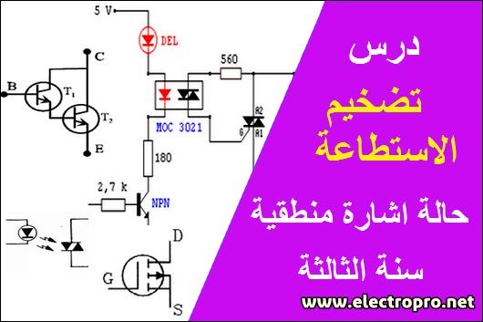 درس تضخيم الاستطاعة حالة اشارة منطقية للسنة الثالثة تقني رياضي هندسة كهربائية