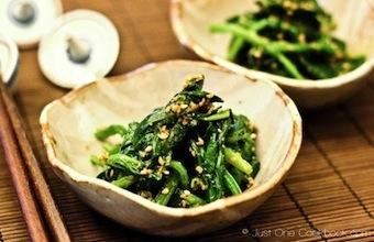 japanese recipe spinach gomaae sesame seed sauce spice