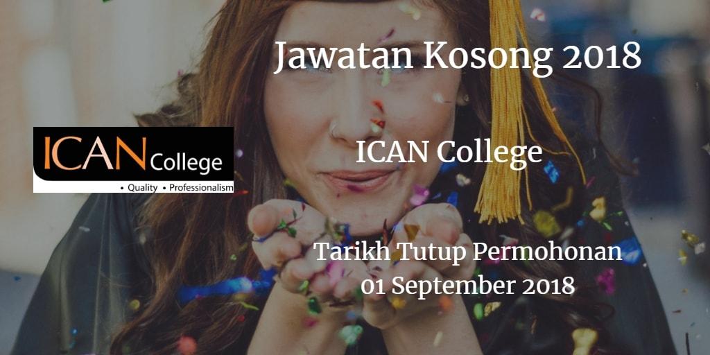 Jawatan Kosong ICAN COLLEGE 01 September 2018