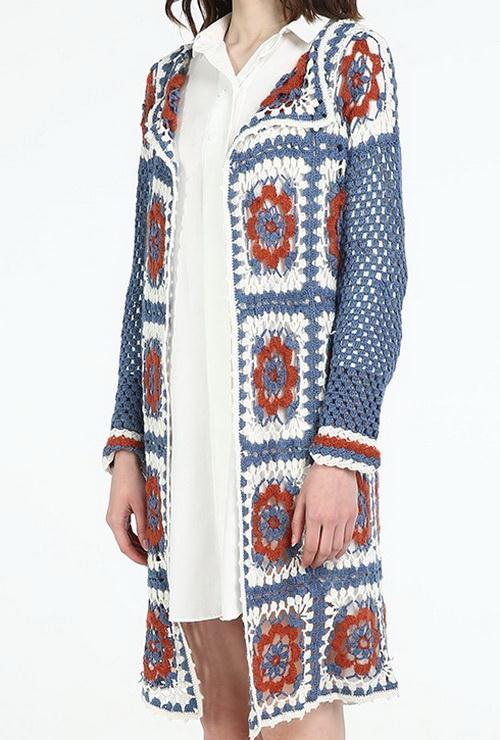 Granny square crochet cardigan easy long cardigan for woman
