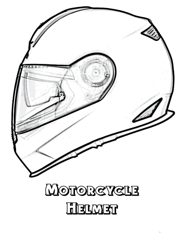 Gambar Mewarnai Helm Untuk Pengendara Motor  Contoh Anak PAUD