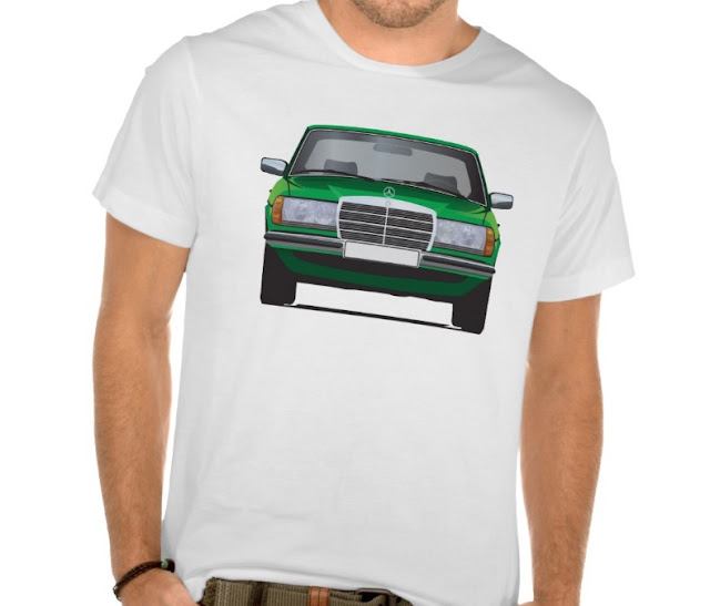 Green 80's Mercedes-Benz W123 white t-shirt