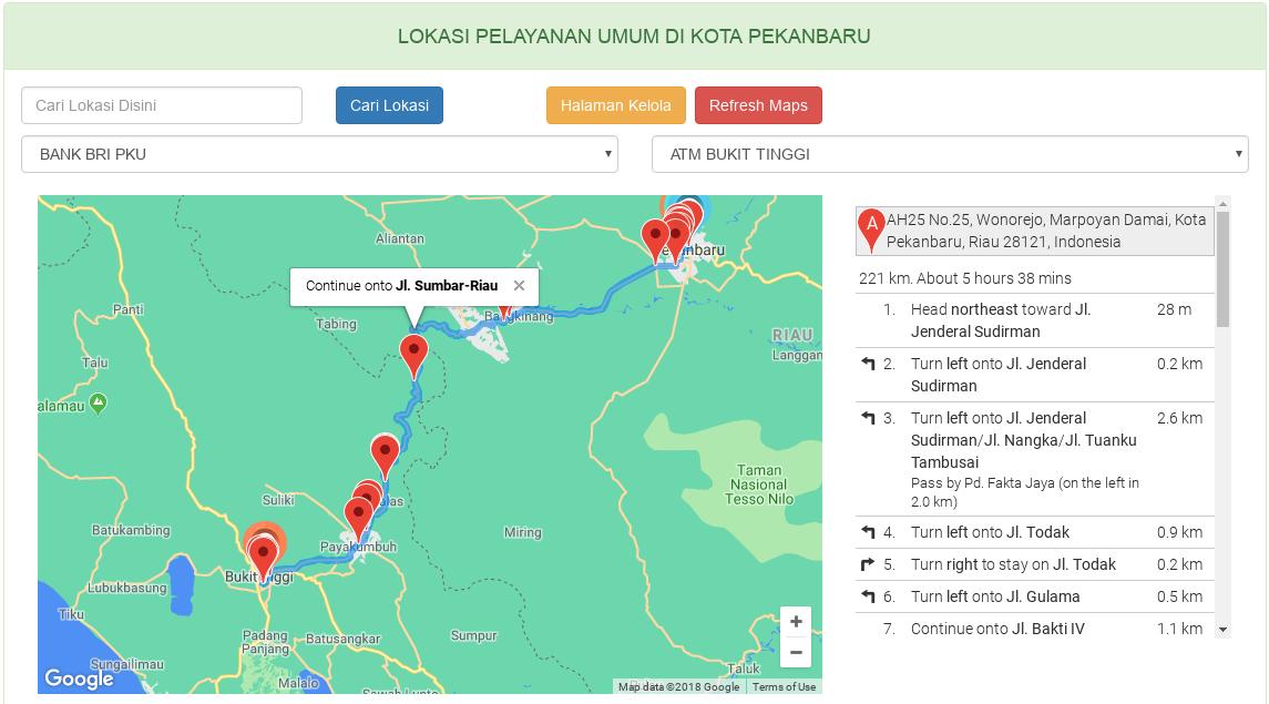 cara menampilkan rute peta google maps