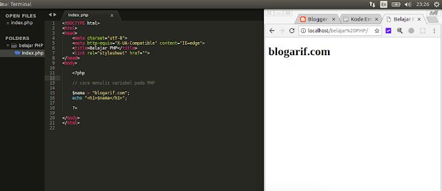 cara menulis variabel pada PHP