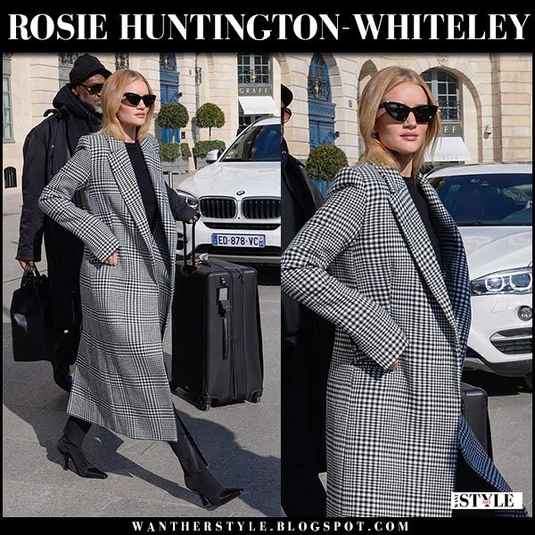 Rosie Huntington-Whiteley in black check coat paris fashion week february 28