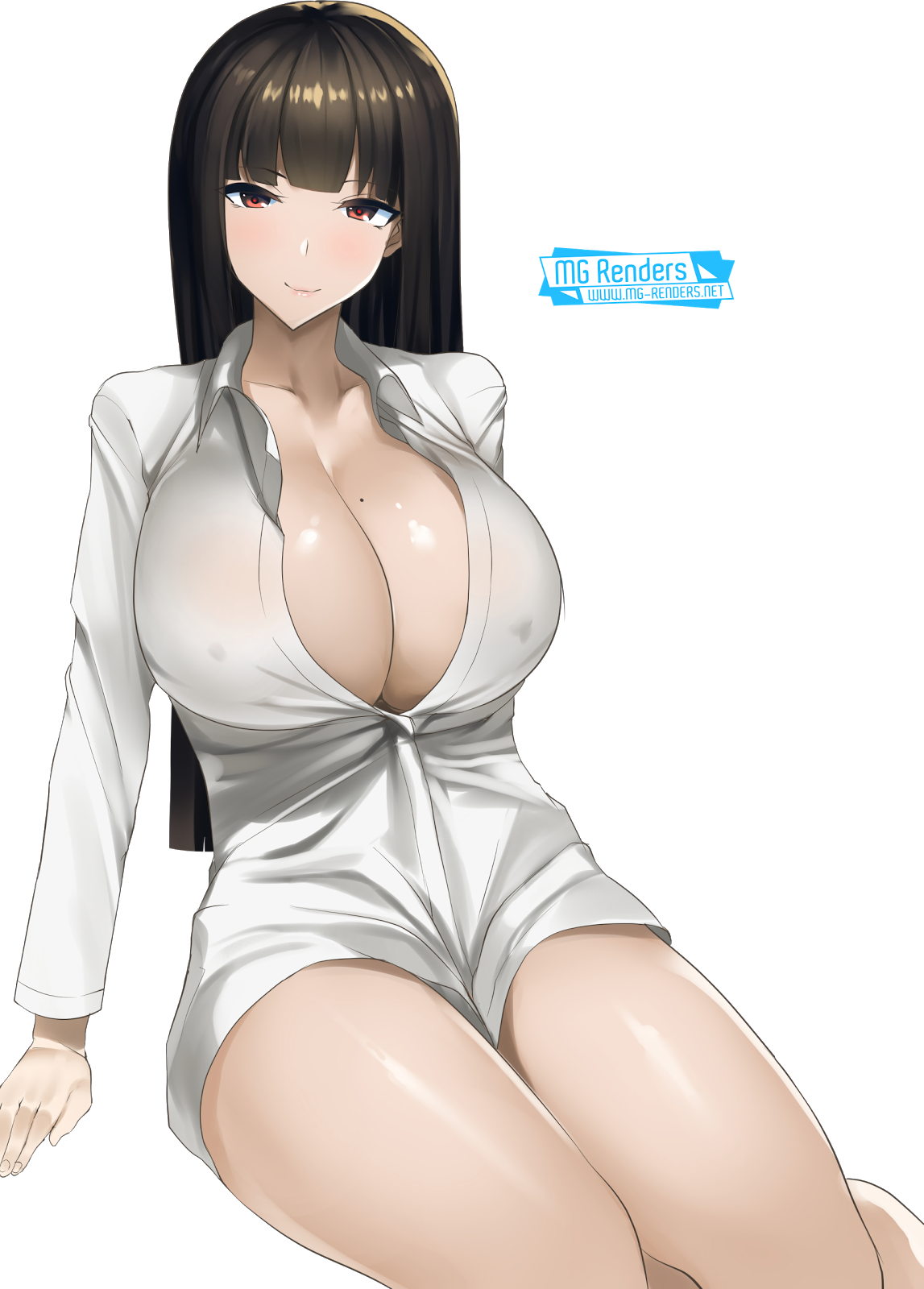 Tags: Anime, Render,  Girls und Panzer,  Huge Breasts,  Nishizumi Shiho,  PNG, Image, Picture