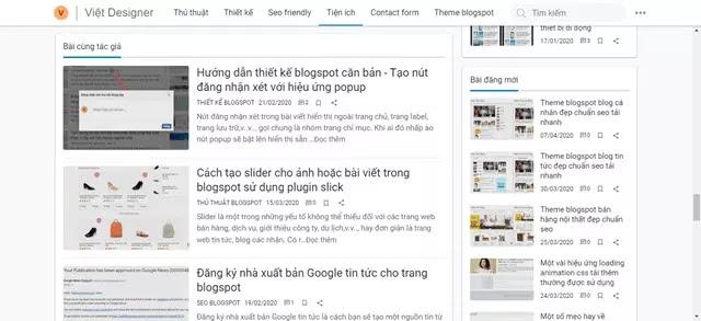 Xây dựng widget hiển thị các bài viết cùng tác giả từ nguồn cấp Blog