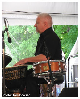 Tim Mulvenna - Percussionist and the Steve Gibons Gypsy Rhythm Project at the Von Freeman Pavilion of the 2017 Chicago Jazz Festival | Photograph by Tom Bowser