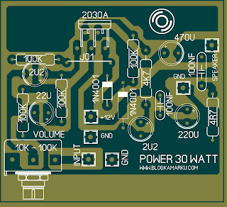 rangkaian audio amplifier PCB 30 Watt mono komplit
