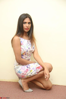 Nishi Ganda stunning cute in Flower Print short dress at Tick Tack Movie Press Meet March 2017 107.JPG
