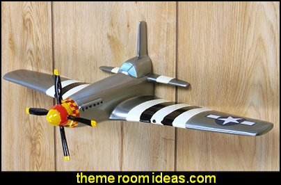 P-51 Fighter Airplane WWII Wall Decor  Army Theme bedrooms - Army Room Decor - Military bedrooms camouflage decorating - Marines decor boys army rooms - camo themed rooms - Military Soldier - Uncle Sam Military home decor - Airforce Rooms - military aircraft bedroom decorating ideas - boys army bedroom ideas - Navy themed decorating