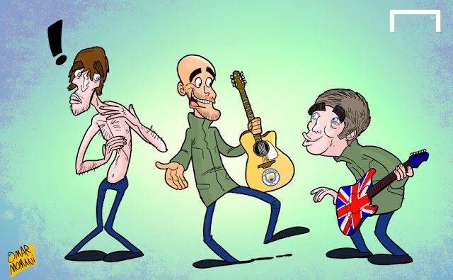 Guardiola, Noel Gallagher, Liam Gallagher, Oasis caricature