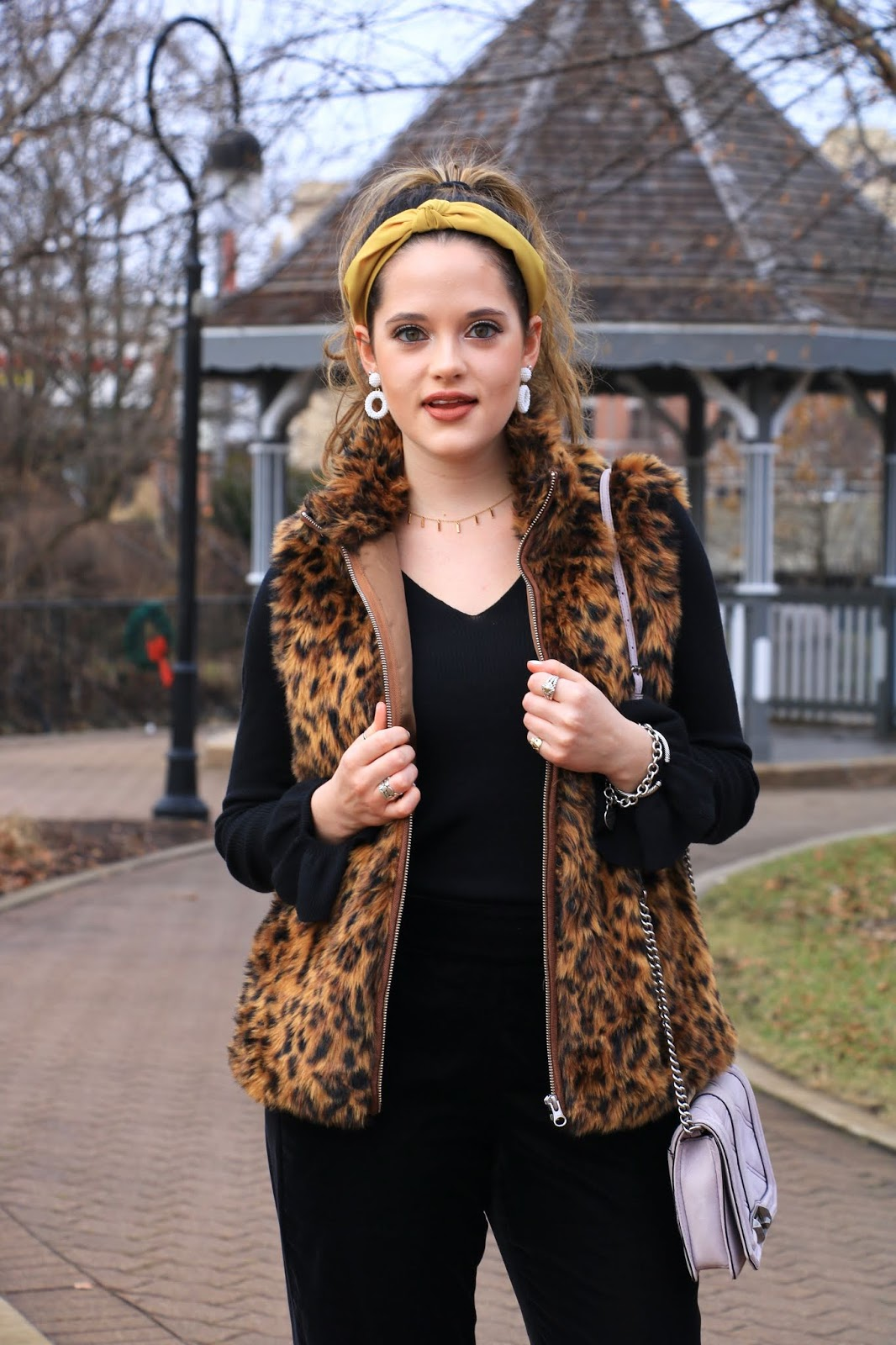 Nyc fashion blogger Kathleen Harper's leopard vest outfit idea