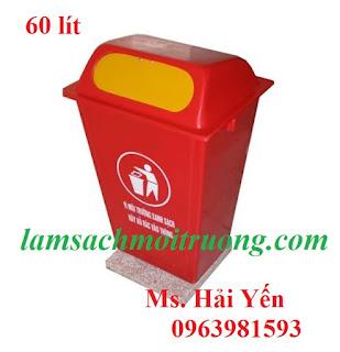 Thùng rác 60 lít nhựa Composite, thùng rác công cộng, thùng rác nhựa công nghiệp giá rẻ