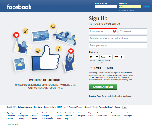 welcome to fb login sign up