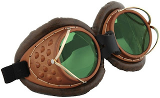 Brown and green lenses machinist welding goggles steampunk clothing