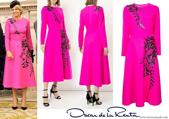 Queen Maxima wore OSCAR DE LA RENTA leaf patterned dress