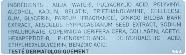 composition  Masque Facial Lifting hydratant hydrogel de Joliderm