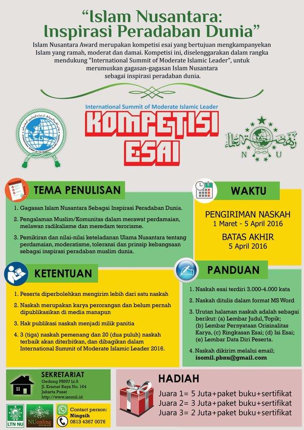 Kompetisi Esai Islam Nusantara Inspirasi Peradaban Dunia