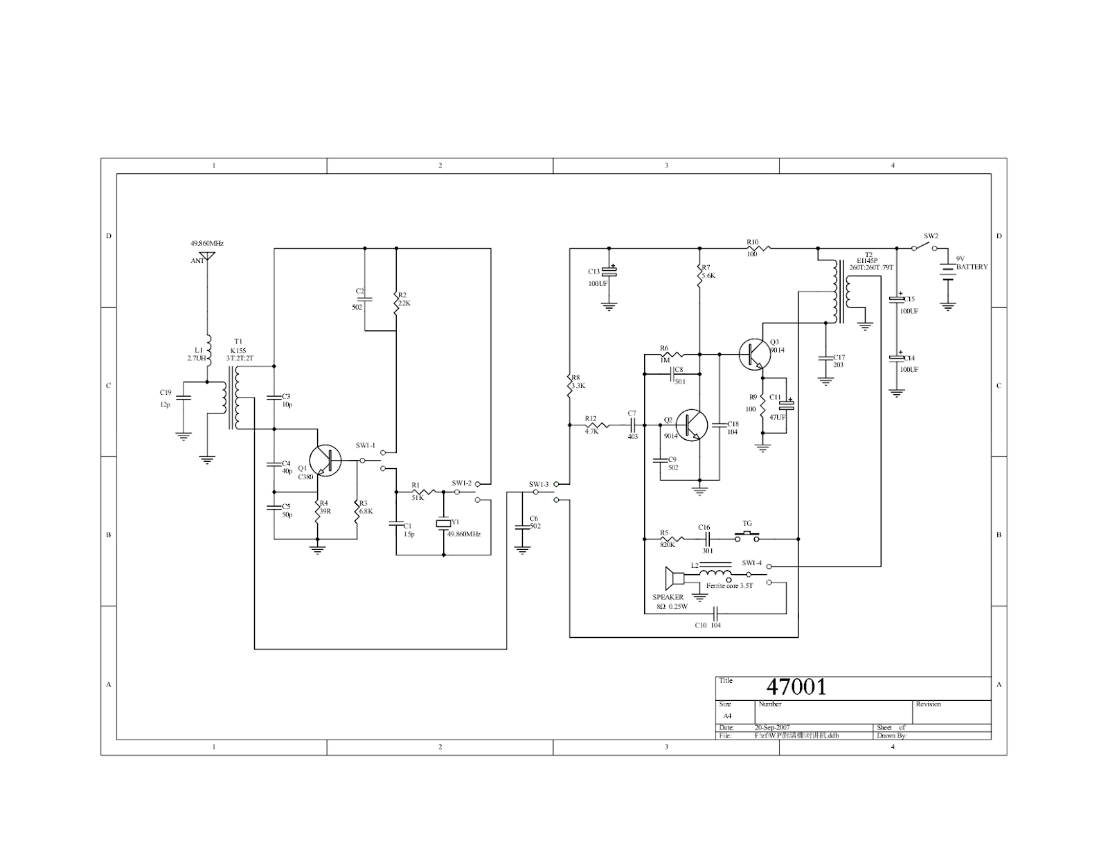 transistor walkie talkie circuit diagram