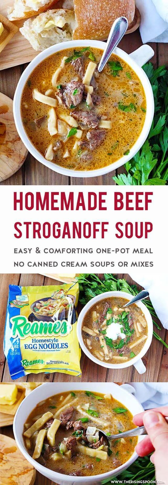 An Easy Beef Stroganoff Soup made in one pot on the stove-top using simple ingredients (no canned cream soups or mixes) in about one hour.  Each spoonful is packed with tender beef, earthy mushrooms, fragrant onion & garlic, thick & hearty noodles, and a rich, slightly creamy & savory broth. This is simple comfort food at its best! Fix a batch any time you're craving a delicious stick-to-your-ribs meal that'll keep you warm. #sponsored #Reames #Homemadegoodness #soup #souprecipes #easyrecipe #easyrecipes