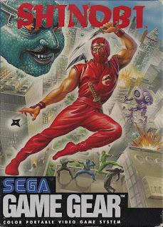 Portada del cartucho de la portátil a todo color de Sega Game Gear: Shinobi, 1991