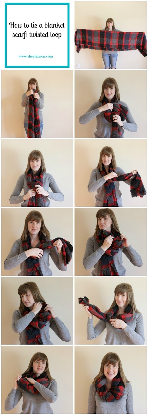 How to tie a blanket scarf in a twisted loop. | www.shealennon.com